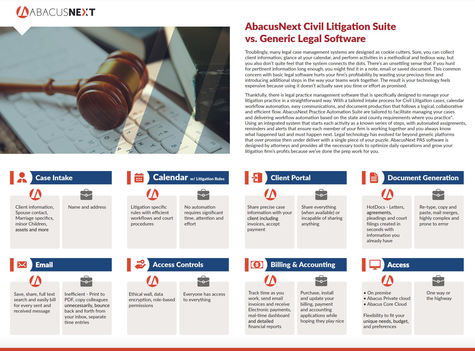 Abacus Civil Litigation Software Comparison