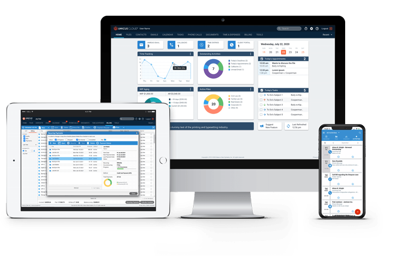 amicus cloud legal practice management software displayed on a desktop, tablet, and laptop screen