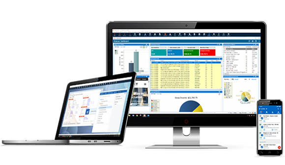 abacus law legal practice management software displayed on a desktop, tablet, and laptop screen