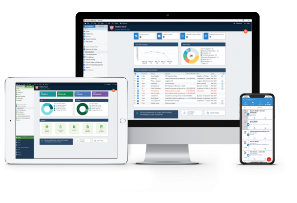amicus attorney legal practice management software displayed on a desktop, tablet, and laptop screen